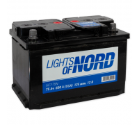 Автомобильные аккумуляторы Lights of Nord 75 А/ч Прямая EN600 А 277x175x190 6CT-75N Прямая полярность