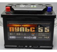 Автомобильные аккумуляторы ПУЛЬС 55 А/ч обратная R+ EN 410A 242x175x190 6СТ-55.0 Обратная полярность