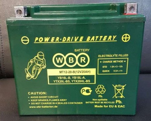 Мото аккумулятор WBR MT12-20-В
