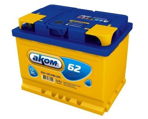 Автомобильный аккумулятор  Аком 62 Ач