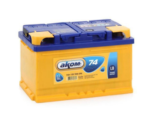 Автомобильный аккумулятор  Аком 74 Ач