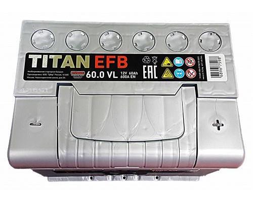 Автомобильный аккумулятор  Titan 60 Ач