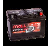 Автомобильный аккумулятор  Moll 70 Ач 276x175x190