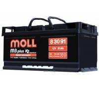 Автомобильный аккумулятор  Moll 91 Ач 354x175x175