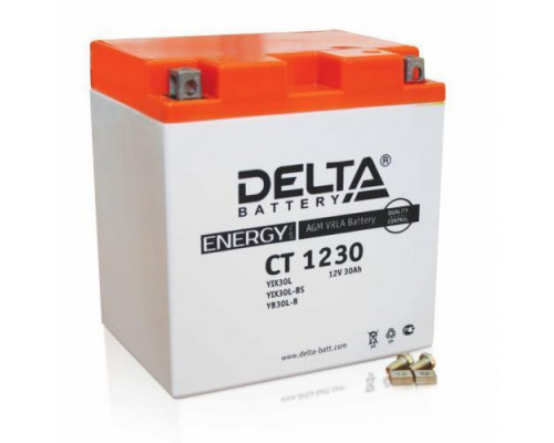 Аккумулятор Delta CT 1230 (YTX30L, YТX30L-BS, YB30L-B) (12 вольт 30 ампер)