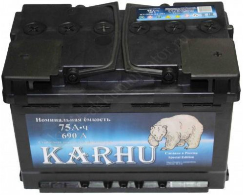 Автомобильный аккумулятор  Karhu 75 Ач