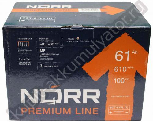Автомобильный аккумулятор  Norr 60 Ач
