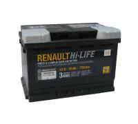 Автомобильные аккумуляторы RENAULT 70 А/ч обратная R+ EN720 А 278x175x190 7711 821 598 Обратная полярность