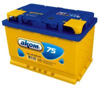 Автомобильные аккумуляторы АКОМ 75 А/ч прямая L+ EN 700A 278x175x190 6CT-75.1 LA Прямая полярность Евро